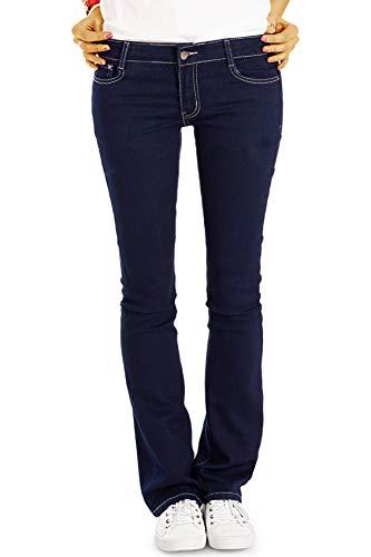 bestyledberlin Damen Bootcut Jeans, Low Rise Hüftjeanshosen j67k 36/S blau