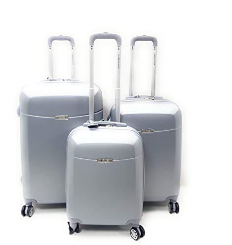 Set 3 trolley valige abs rigido 8 ruote coveri collection set trolley rigidi con trolley ryanair bagaglio a mano cm.55x40x20 (argento)