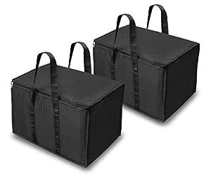 DAHSHA 2 Pack Classic Big Handy Clothes Storage Bag Organizer for Books Magazine, Stationery Paper, Document Toy Storage (55.8x34x36.8cm, Black)