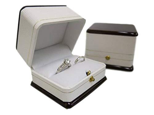 Box Boutique Scatola Porta Anelli Doppio per Sposa e Sposo, Grande Effetto Legno e Pelle