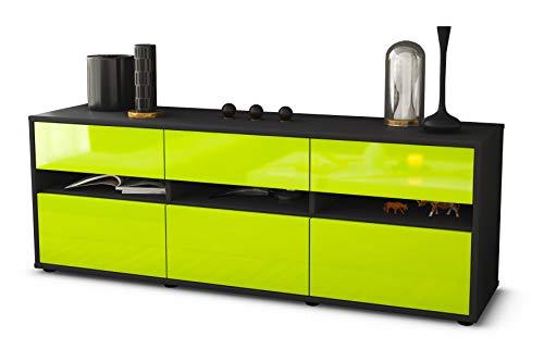 TV Schrank Lowboard Annalena, Korpus in anthrazit matt / Front im Hochglanz Design Limettengrün (135x49x35cm), mit Push to Open Technik und hochwertigen Leichtlaufschienen, Made in Germany