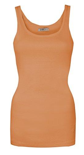 Oops Outlet Damen-Oberteil mit Dollarzeichen Brody & Co ® Yoga, Fitness, Gymnastik, hochwertiger Baumwoll-Stretch Orange - Pfirsischfarben