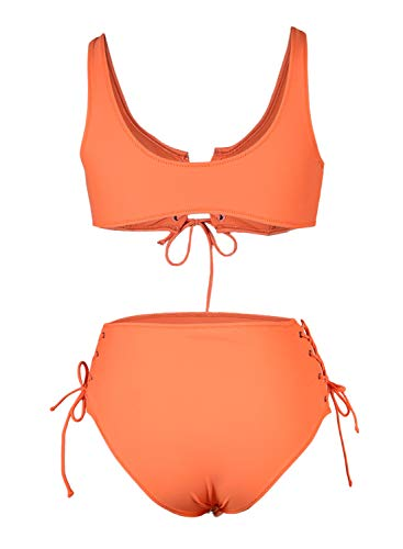 SIDEFEEL Damen Bikini-Set mit Schnürung, hohe Taille, zweiteilig, Badeanzug - Orange - Medium - 5
