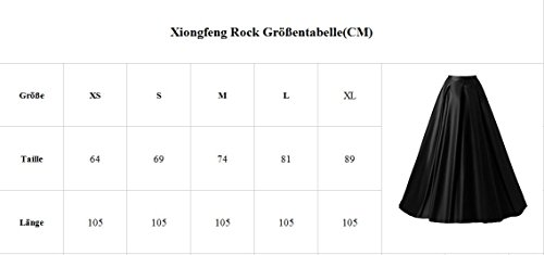 Xiongfeng®Damen A-Linie Satin Maxi Vintage Rock Hohe Taille mit Taschen Grün