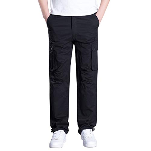 Schlitz-pocket-hose (SHE.White Herren Cargo Hose Army Tactical Hose Ripstop Multi-Pocket Arbeitshose Hose Militär Freizeit Outdoorhose Taktisch Kampfhose M-3XL)