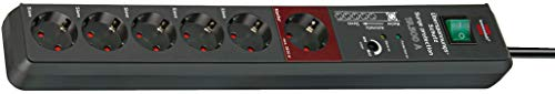Brennenstuhl Secure-Tec, Steckdosenleiste 6-fach mit Überspannungsschutz und Master Slave Funktion (3m Kabel und Schalter) grau