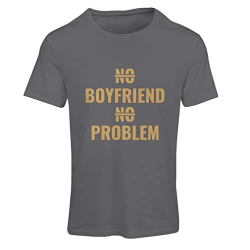 lepni.me Frauen T-Shirt Kein Freund, kein Problem, sarkastischer Beziehungs-Humor (Small Graphit Gold) -