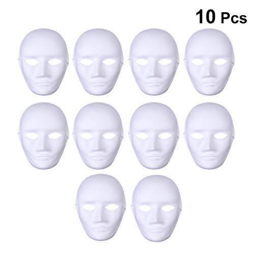 YeahiBaby Leere Weiße Maske Unbemalt aus Papiermasse für DIY Farbe 10 Stücke (Männliches Gesicht)