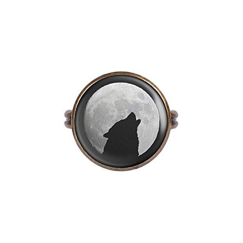v Wolf Heult Mond Silhouette Sterne bronze 16mm (Halloween Silhouetten Geist)