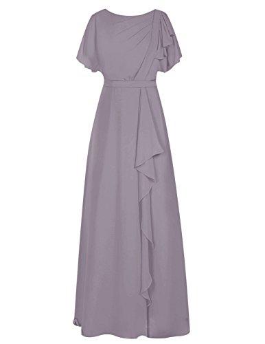 Dresstells Damen Bodenlang Chiffon Abendkleid Brautjungfer Kleider mit Ämel Ballkleid Grau
