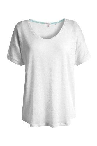 ESPRIT Damen T-Shirt R21668 Weiß (100 White)