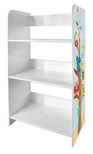 Bibliothèque Meuble De Rangement Motif Hiboux Chouettes Colorées Bibliothèque Décoration Etagere De 3 Casiers Blanc Sur Des Livres de Jouets