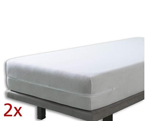Velfont - Set mit 2X Elastischer Matratzenbezug mit Reißverschluss, Frottee Baumwolle Matratzenauflage | Matratzenschonbezug - (2X) 90 x 190/200 cm - Weisse - Matratzenhöhe 15-30cm