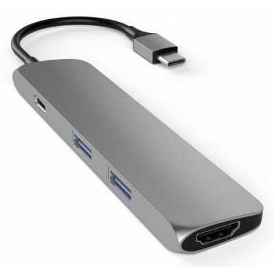 Satechi Adaptateur Fin Multi-Ports Type-C en Aluminium avec Port de Chargement Type-C, Sortie Vidéo 4K HDMI, et 2 Ports USB 3.0 Ultraléger et portable pour ordinateurs et tablettes Type-C - Compatible MacBook Pro 2016, MacBook 2016, Google Chromebook 2016 (Gris Espace)
