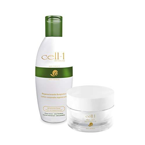 cell-1 Original Premium Hautpflege mit Schneckenextrakt, reichhaltige Pflege für jeden Hauttyp, effektiv gegen Falten, Pickel, Flecken, Narben und Dehnungsstreifen | SET 1x Gel 1x Bodylotion