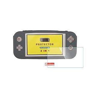 AFAITH Ultra Slim Durable Silikonhülle Abdeckungen + Härte Qualität 9HD Hartglas Displayschutzfolie für Nintendo Switch Lite (Schwarz)