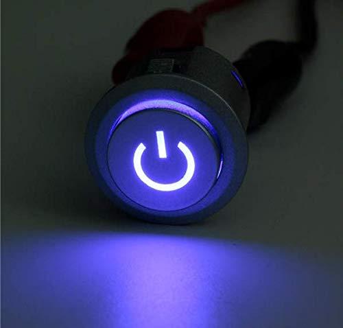 YONGYAO 12V 10A 22Mm LED Auto-Lock Bouton Poussoir d'alimentation Interrupteur Marche/Arrêt 3 Couleurs-Bleu