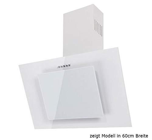 Dunstabzugshaube Wandhaube F.BAYER FIRE 80W 80cm Weiß Weißglas Dunstabzug 500m³/h LED