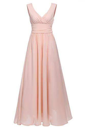 Frauen V-Ausschnitt V zurück drapieren Geraffte Taille Partei Kleid Lange Maxi Chiffon Abendkleid (DE Stock) (Prom Kleider Stock Länge)