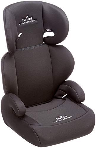 Twins Kindersitz mit verstellbarer Kopfstütze und Rückenlehne, Gruppe 2/3 (15-36 kg), ab 3,5 bis 12 Jahre, schwarz