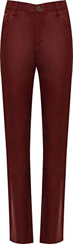 WEARALL - Femmes Plus Faux Cuir Humide Regardez Maigre Jambe Poche Pantalon Dames Étendue Jeans - 44-56 Vin