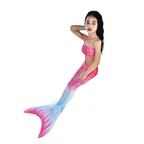 Von Kostüm Drei Satz - NVHAIM 3 Sätze Kinderbadebekleidung,  Meerjungfrau-Schwanz-Kostüm, Bikini-Anzug, Geeignet for Kinder und Mädchen Wunderschöne Kleidung (Color : Pink, Size : 110)