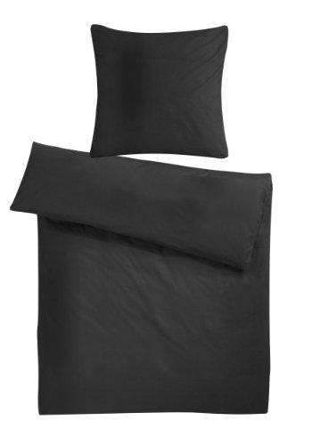 Kuschelweiche und warme Biber Winter-Bettwäsche aus 100% flauschiger Baumwolle zum Wohlfühlen. Moderne Flanell Bett-Bezüge in Uni-Farben Design mit Reißverschluss. 200 x 200 cm, Einfarbig Schwarz