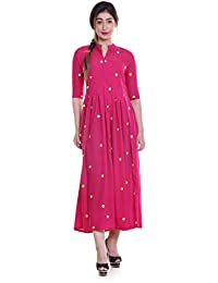 0757049c0d Sona FashionS Rayon Tiered Mirror Embroidered Designer V-Neck Long Maxi  Half Sleeve Kurta Kurti