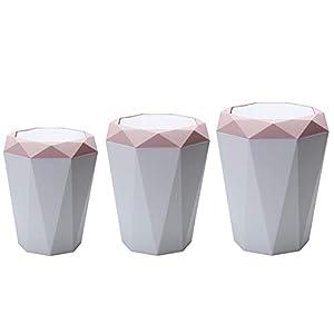 Gorgeousy Mülleimer mit Klappe im nordischen Stil, innovativer Abfalleimer in Diamantform mit Klappdeckel, Mülleimer für…