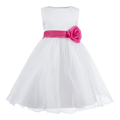 Katara - 1690-16 Festliches Kinder Blumenmädchen Kleid für Hochzeit, Kirche, Feiern mit Blume, Schleife und viel Tüll - Beste Qualität dieser Preisklasse, 98-104 (2-3 Jahre), rosa-rot (Weihnachten Fancy Kleid Günstige)