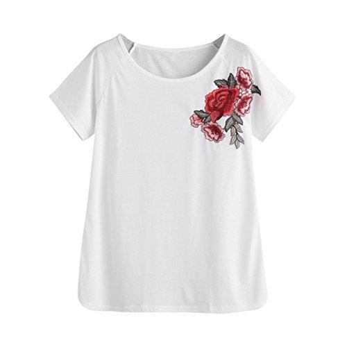 Frauen Tops, lmmvp Frauen Rose bestickt T-Shirt Short Sleeve Tops (Bestickte Shirts Rose)