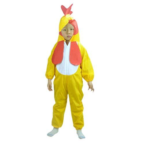 CTOOO Pyjamas Kinder Kostüm Jumpsuit Tier Schlafanzug Cosplay Karneval Fasching Netter Großer Hahn Gelb
