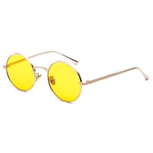 Metall runden Rahmen Sonnenbrille weiblichen koreanischen Retro Retro Punk Wind Sonnenbrille männlichen Harajuku Stil Persönlichkeit Sonnenbrille, Funktion UV-Schutz,Yellow