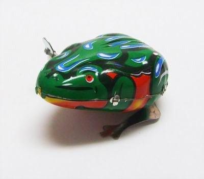 Blechspielzeug zum Aufziehen tin toys wind up new rare-rot grüner hüpfender Frosch Spielzeug
