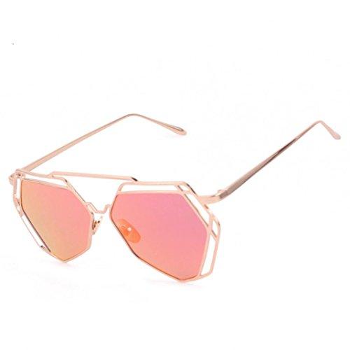OverDose Unisex Vintage Twin-Träger klassische Frauen Metallrahmen Katzenaugen Spiegel Sonnenbrille Katzenauge Brillenmode (Rot)