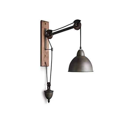 Applique industrielle vintage chambre lampe de chevet lampe murale rétro pays créatif en fer forgé restaurant bar poulie réglable support de levage ascenseur, E27 MAX60W (ampoule non incluse)