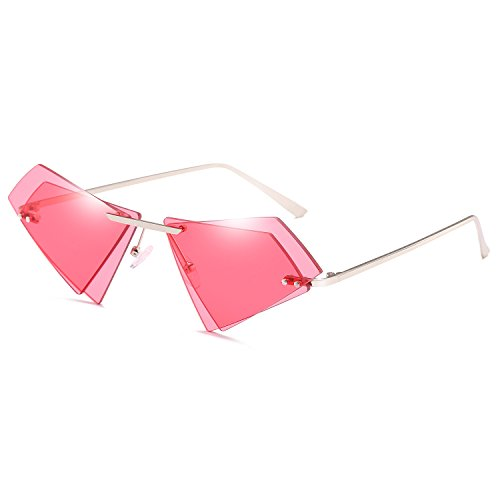 Women Girl Fashion Irregular Metal Frame Cat Eye Sunglasses Classic Luxury Ocean Piece Glasses Travel Sunglasses