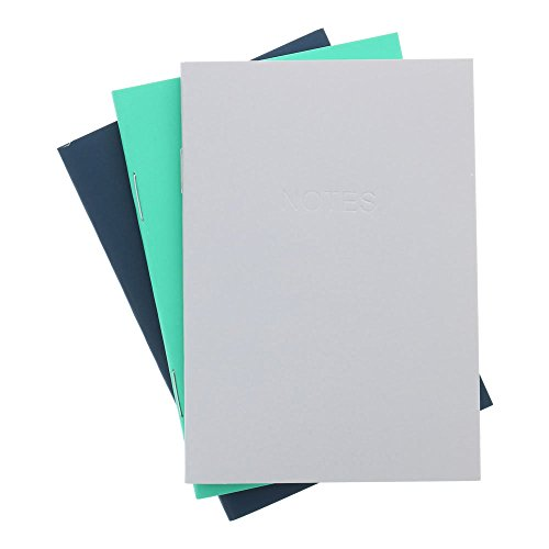 Art Alternatives Everyday Soft Cover Notebooks, One Each Navy, Arcadia Green and Gray, 48 Pages Each, 3.5 x 5 inches (AAJE00016)