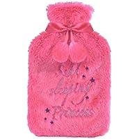 Preisvergleich für Hot Water Bottle in Luxury Faux Fur with Pom Pom's - Beautifully Designed (1 Litre) (Pink)