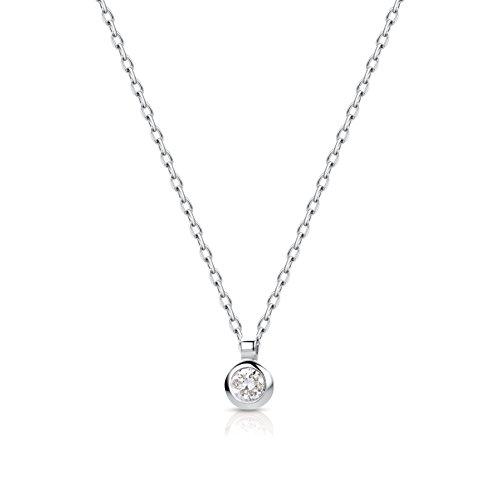 Miore Kette - Halskette Damen Kette Solitär Weißgold 9 Karat / 375 Gold  Diamant Brilliant  0.05 ct 45 cm
