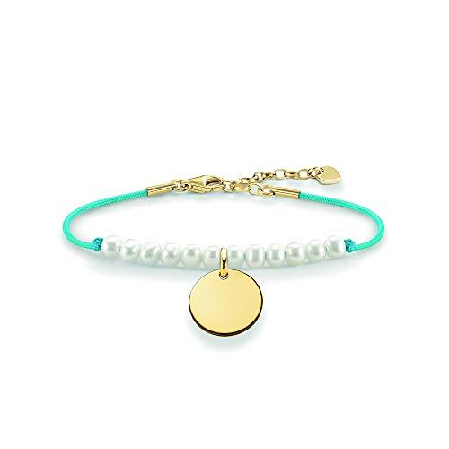 THOMAS SABO Damen Perlenarmband Weiß Coin Perlenarmband Scheibe Gold 925er Sterlingsilber; 750er Gelbgold Vergoldung, Nylon LBA0083-900-14