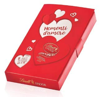 Confezione regalo momenti d'amore 8 cuori lindor irresistibile scioglievolezza san valentino 111 gr lindt