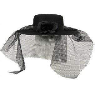 Schwarzer Damenhut mit - Große Schwarze Witwe Kostüm