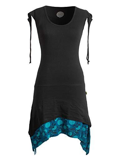 Vishes - Alternative Bekleidung - Ärmelloses Lagen-Look Elfen Zipfelkleid aus Baumwolle schwarz 40-42