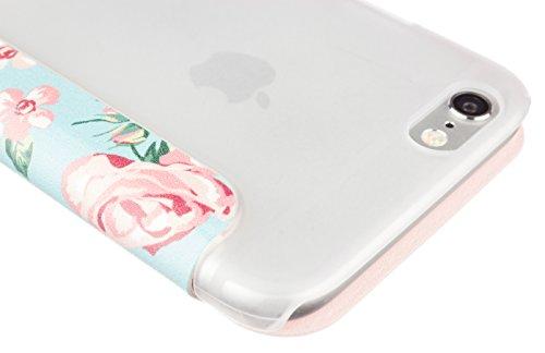 Caseit Inspire Folio Hülle Schutzhülle Case Cover Vorne mit Blauer Rose Hinten Transparent für iPhone 6/6S - Blaue Rose/Transparent Blaue Rose/Transparent