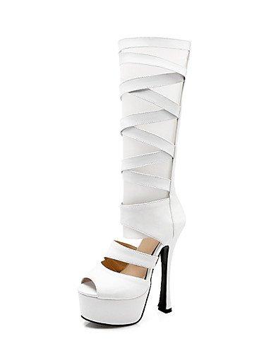 WSS 2016 Chaussures Femme-Habillé / Décontracté-Noir / Blanc-Talon Aiguille-Talons / Bout Ouvert-Talons-Cuir black-us6 / eu36 / uk4 / cn36