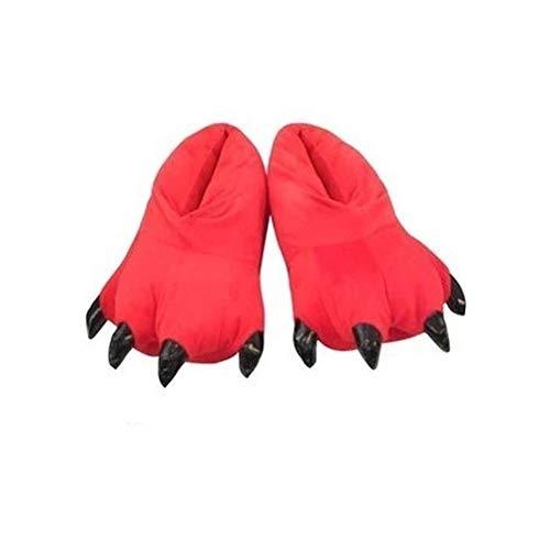 JZLPIN Unisex Tier Pfote Slipper Kostüm Schuhe Innen Schuhe Warm Plüsch Zuhause Hausschuhe Rot Small - für Kind