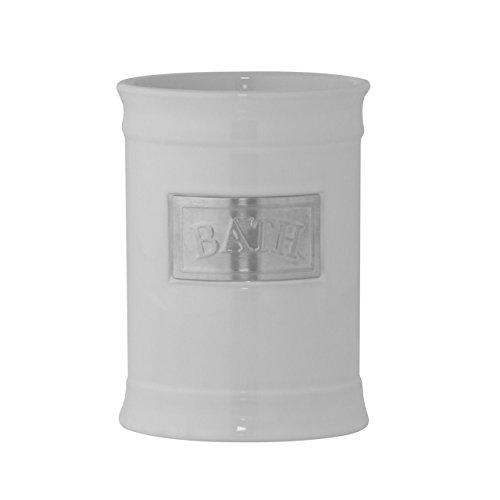 """'Axentia Portacepillos """"Lyon, accesorios de baño con acero inoxidable Cartel, soporte para cepillo de dientes para el cuarto de baño, redonda, vasos, como accesorio de baño accesorio, WC de cerámica, aprox. 8,5x 8,5x 11,5cm), color blanco"""