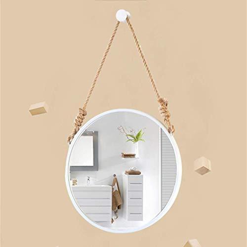 Kostüm Vintage Hollywood - Bad hängende MirrorRound White, Kosmetikspiegel, verschönern Dekoration for das Wohnzimmer Badezimmer, Vintage Schnur LITL (Color : 60 cm)