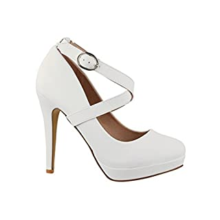 Elara Damen Pumps | Bequeme Riemchen High Heels | Stiletto Schuhe | Abendschuh Trendy | Chunkyrayan E22350 White-40